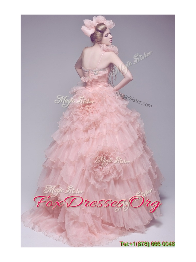 Exclusive Beading and Ruffles Wedding Dresses with Brush Train