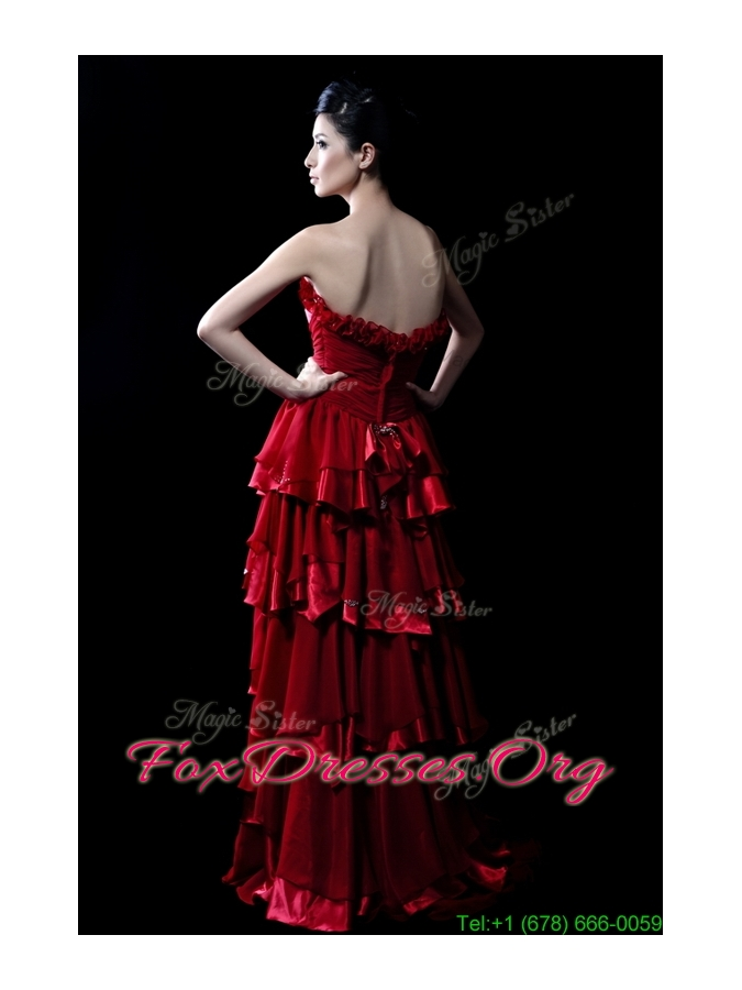 Wonderful Beading and Ruffled Layers Wine Red Wedding Dresses