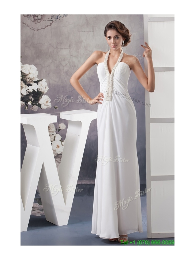 Halter V neck White Chiffon Wedding Dress with Beading and Ankle length