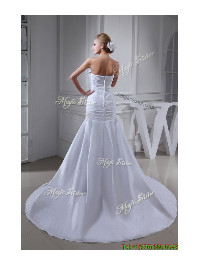 Winter Court Train Strapless Ruched White Wedding Dress with Beading
