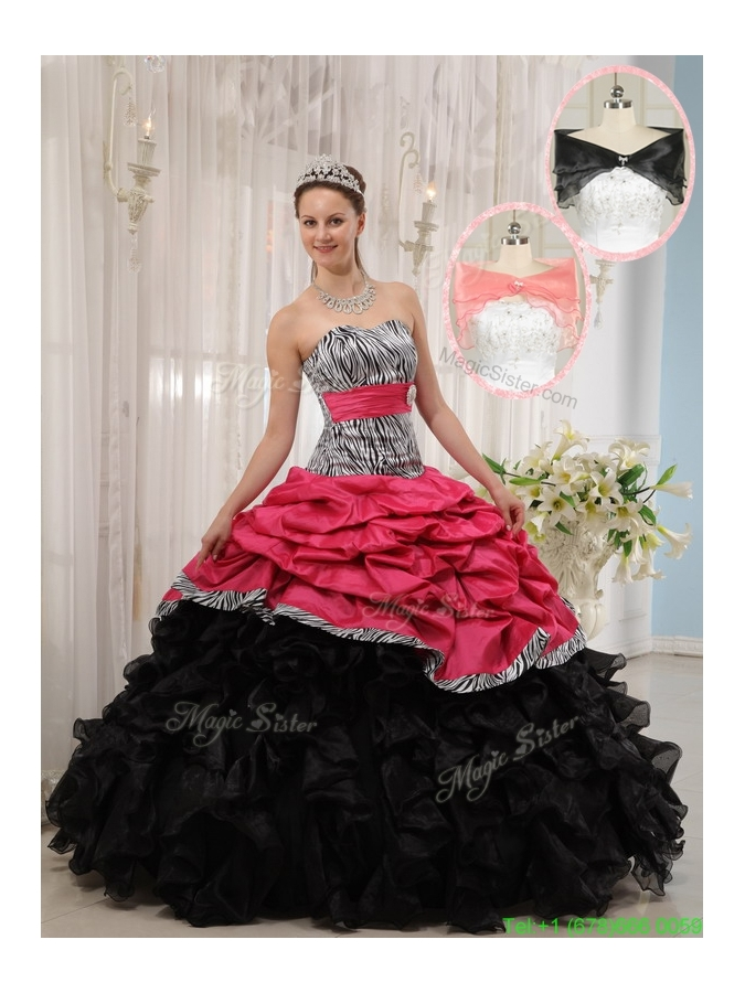 2016 Hot Sale Red and Black Sweetheart Quinceanera Dresses in Zebra
