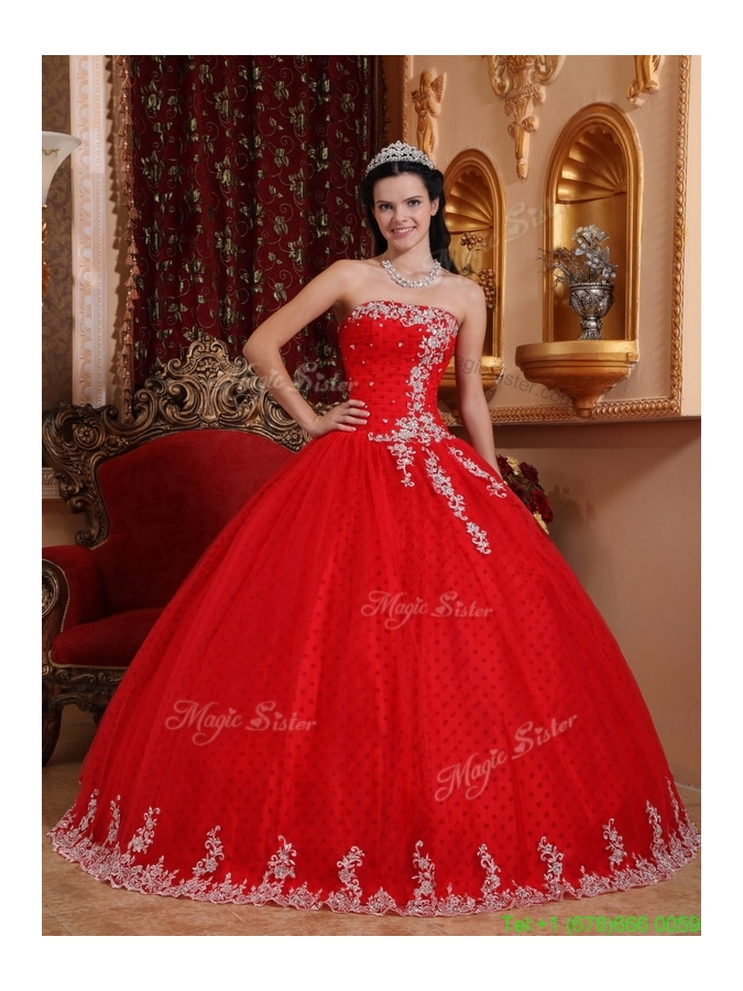 2016 Latest Red Ball Gown Strapless Quinceanera Dresses