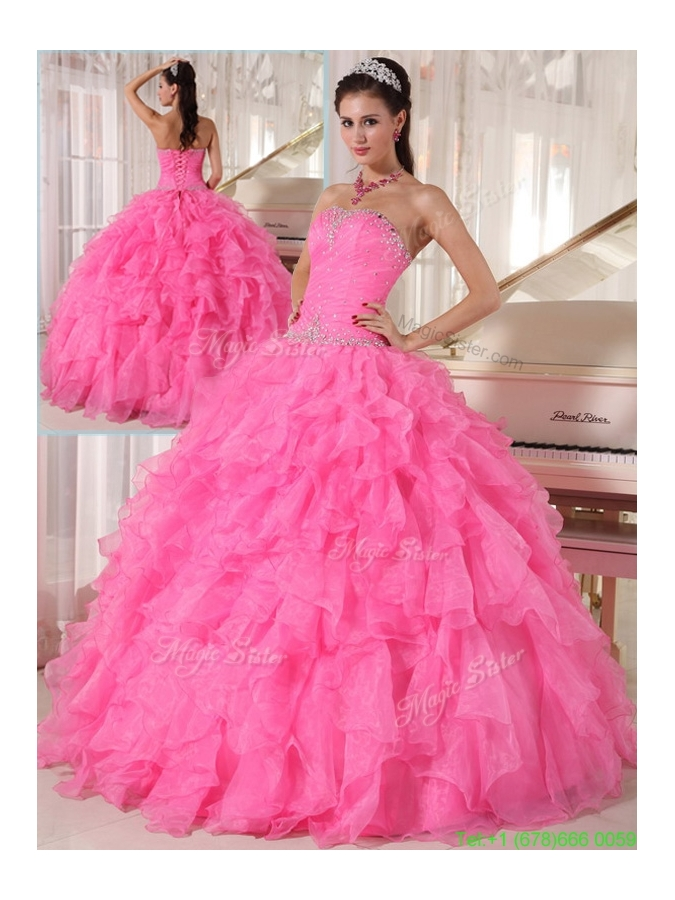 Popular Hot Pink Ball Gown Strapless Discount Quinceanera Dresses
