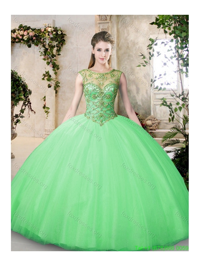 Cheap Bateau and Beading Quinceanera Dresses