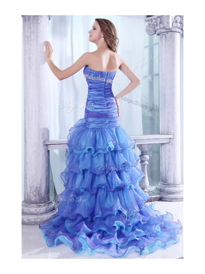 Hot Sale Column Sweetheart High Low Beading and Ruffled Layers Prom Dresses