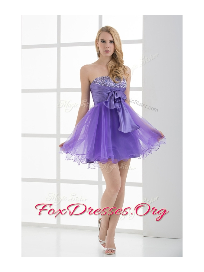 Beautiful Sweetheart Eggplant Purple Short Prom Dresses with Beading