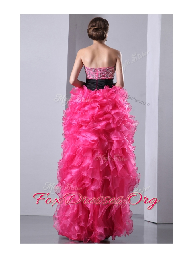 Exquisite High Low Hot Pink Prom Dress with Ruffles