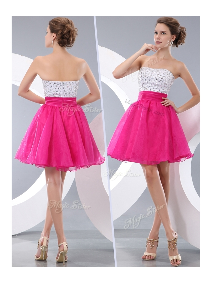 Lovely Princess Strapless Short Junior Prom Dresses with Beading for ...