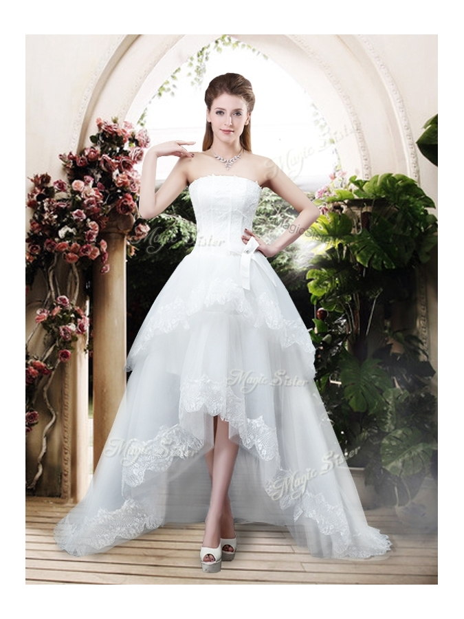2016 Perfect Bowknot and Lace Wedding Dresses with High Low