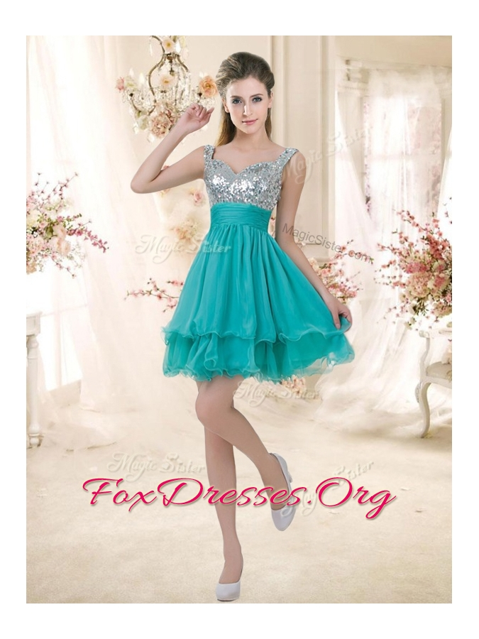 2016 Beautiful Straps Short Bridesmaid Dresses with Sequins for Fall
