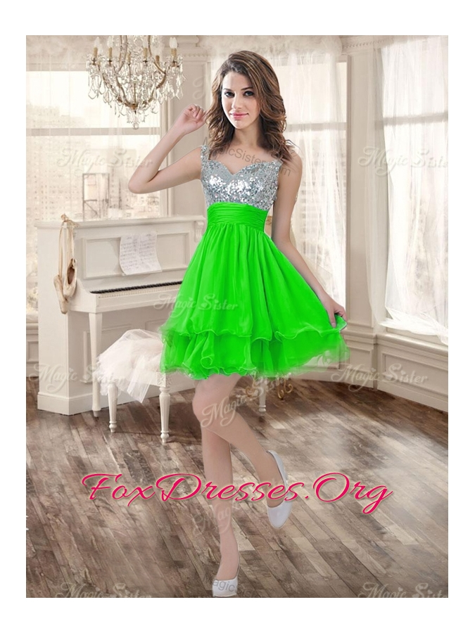 Really Puffy Spring Green Sweet 16 Dress and Sequined Short  Dama Dresses and Beaded and Ruffled Mini Quinceanera Dress