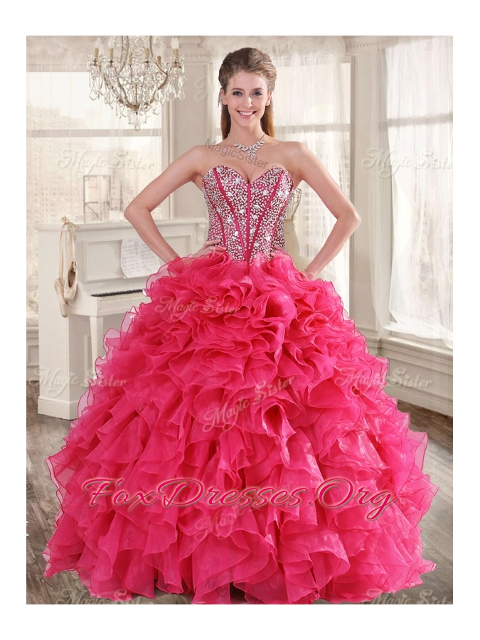 Visible Boning Coral Red Quinceanera Dress and Short Sequined Dama Dresses and Beaded and