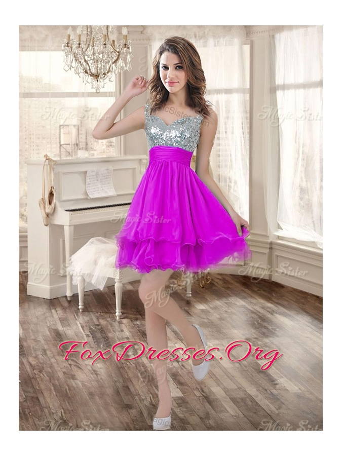Visible Boning Fuchsia Sweet 16 Gown and Sequined Dama Dresses Beaded and Ruffled Mini Quinceanera Dress