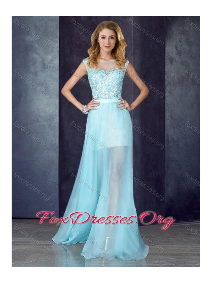 2016 Short Inside Long Outside Bateau Light Blue Prom Dress with Appliques