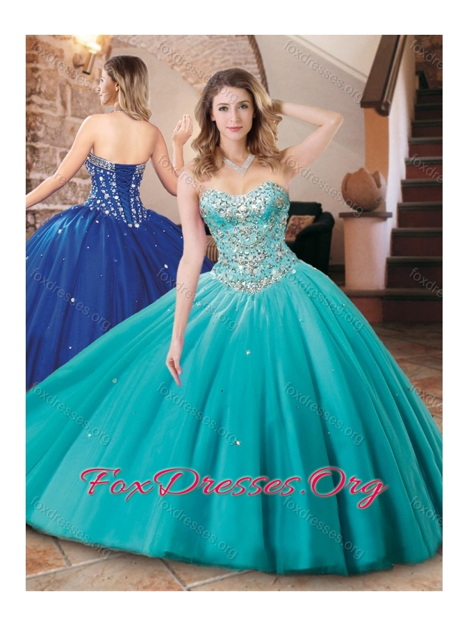 0054c03ca2b Lovely Big Puffy Tulle Aqua Blue Quinceanera Dress with Beading