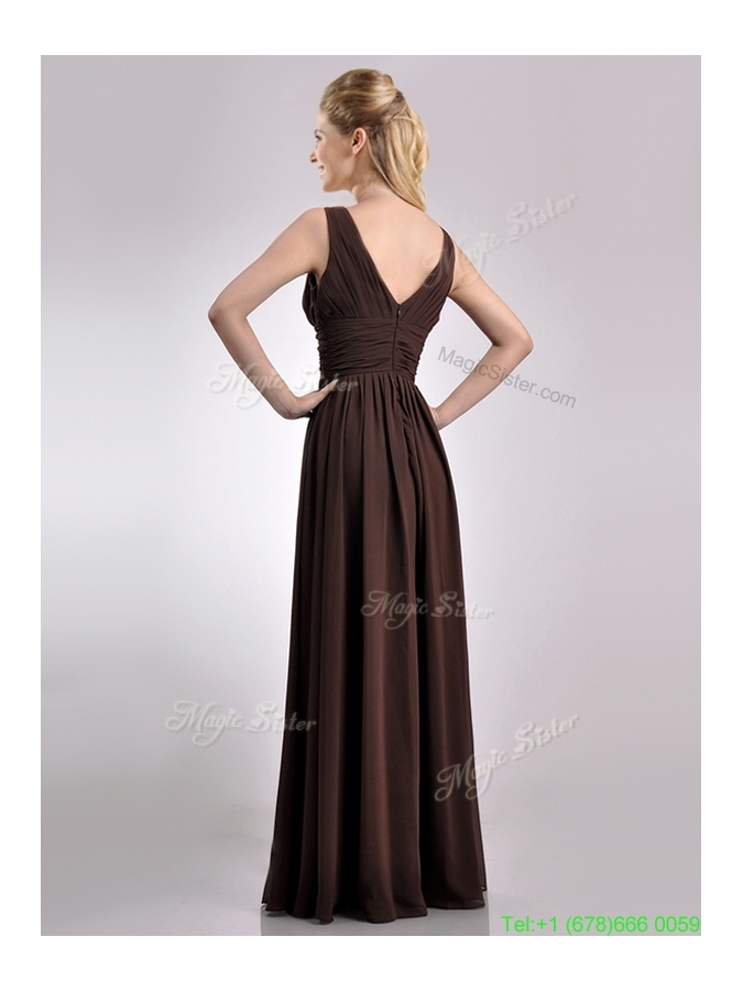 Most Popular Empire V Neck Chiffon Long Mother Dress in Brown