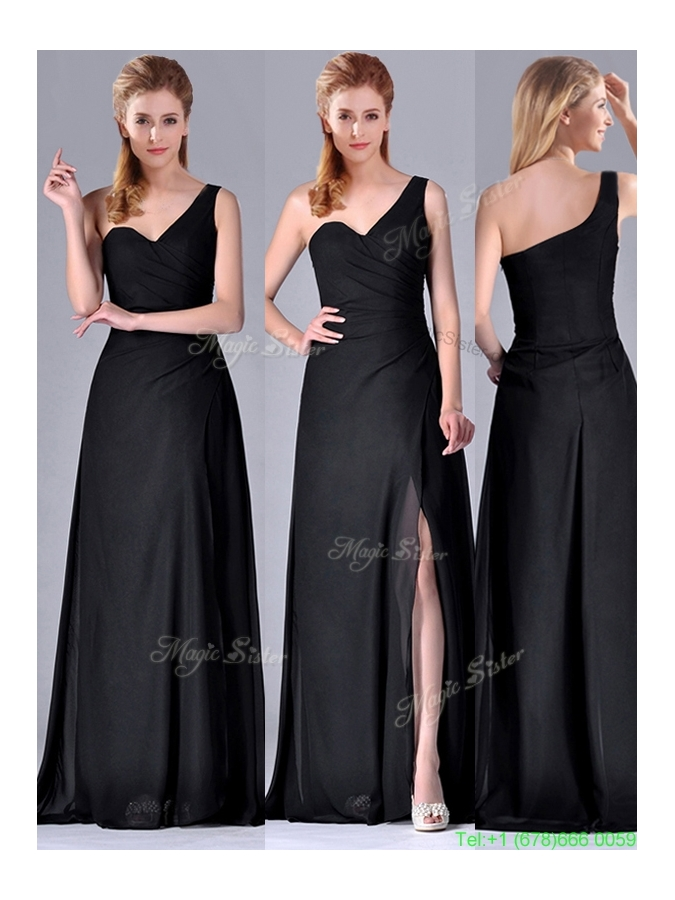 Gorgeous One Shoulder Black Mother Dress with Ruching and High Slit