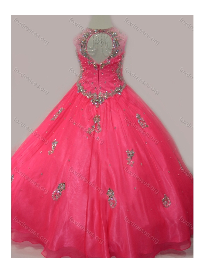 2016 Fashionable Beaded and Applique Girls Party Dress with V Neck