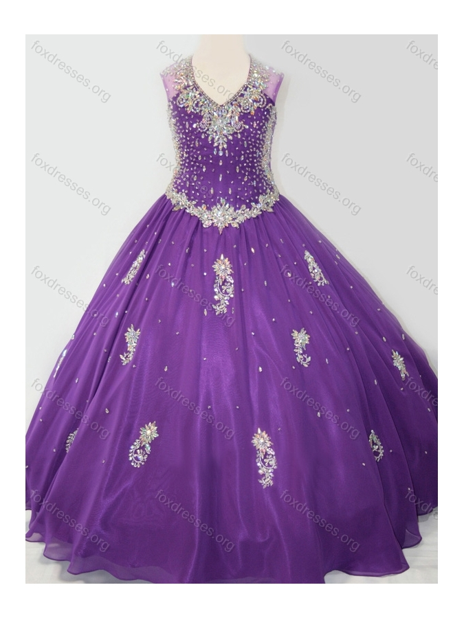 Cheap Ball Gown V Neck Organza Beaded and Applique Girls Party Dress in Purple