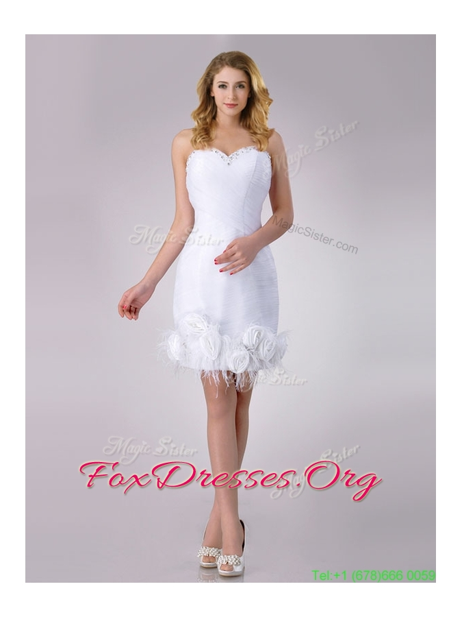 Designer Sweetheart Short Satin Wedding Dress with Beading and Rolling Flowers