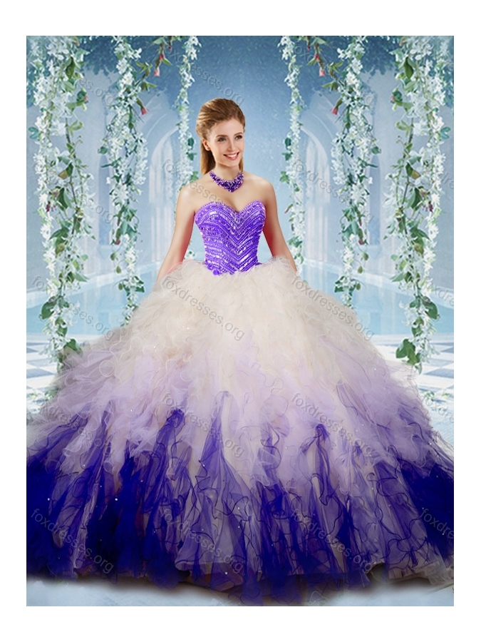 Cute Gradient Color Big Puffy Quinceanera Dress with Beading and Ruffles