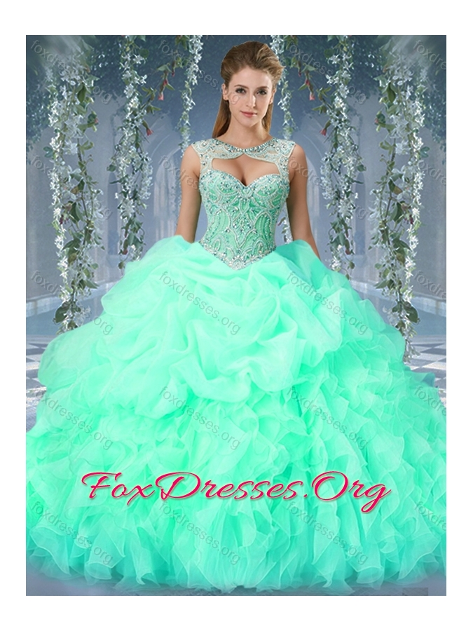 Organza Big Puffy Watermelon Quinceanera Dress with Beading and ...