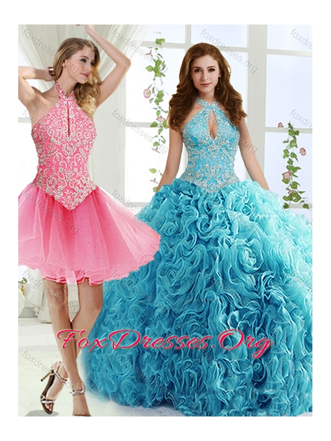 Cut Out Bust Beaded Detachable Quinceanera Dress in Baby Blue