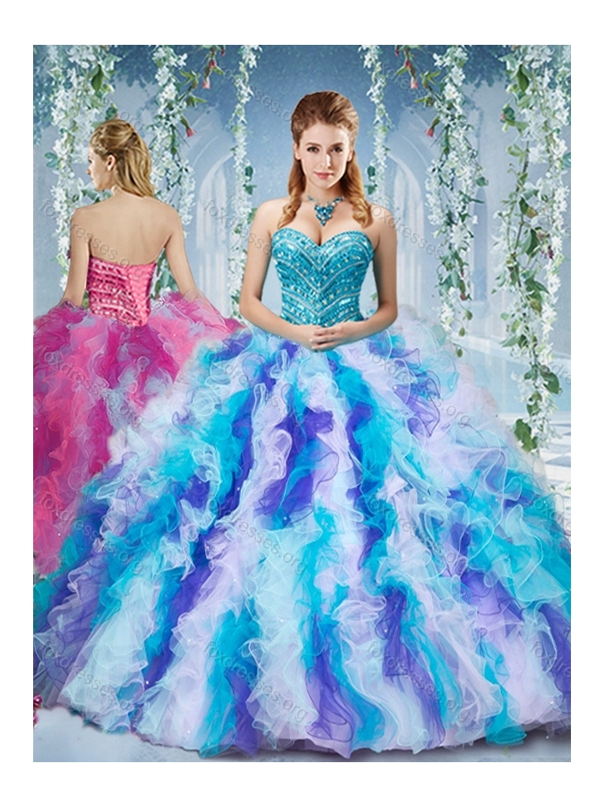 7f87573d50e Pretty Rainbow Colored Big Puffy Quinceanera Dress with Beading and Ruffles