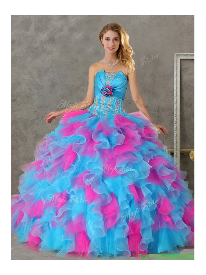 Romantic Hand Made Flowers and Ruffled Big Puffy Detachable Quinceanera Dresses in Blue and Pink