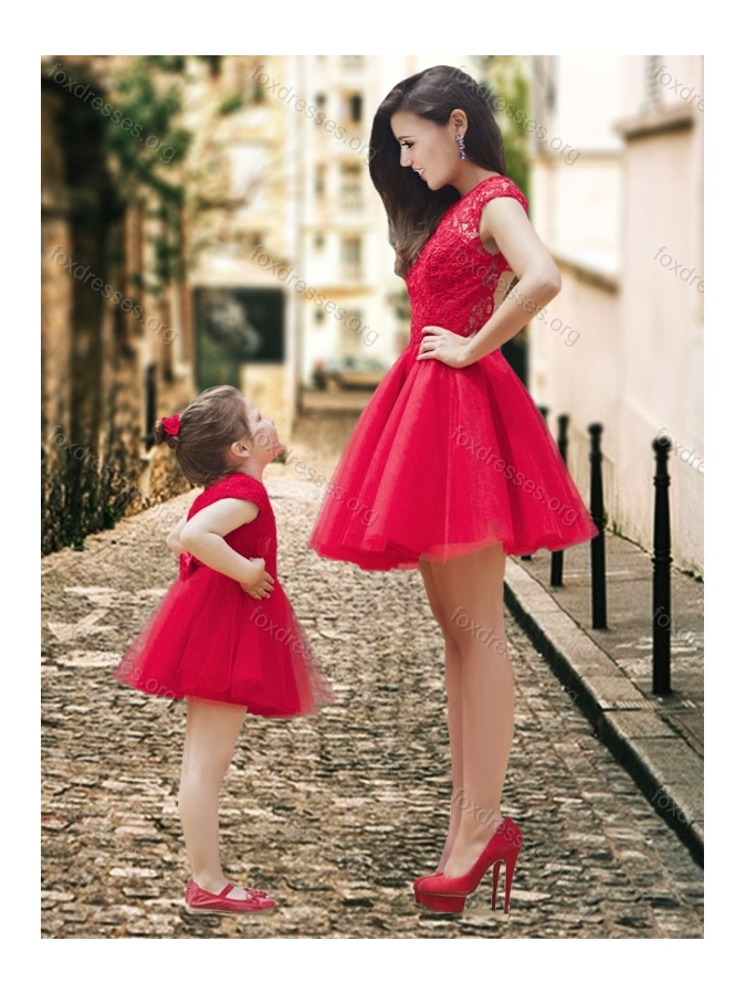 New Style High Neck Backless Prom Dress in Red and Beautiful Mini Length Little Girl Dress with Cap Sleeves