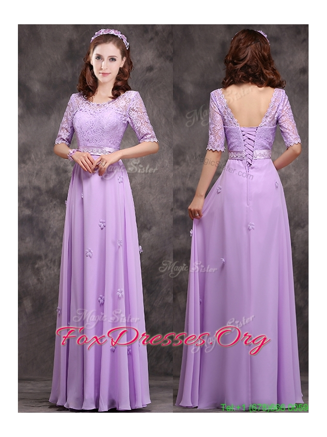 Scoop Half Sleeves Lavender Mother Dress with Appliques and Lace