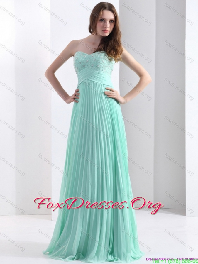 2015 Brush Train Apple Green Bridesmaid Dress with Beading and Pleats