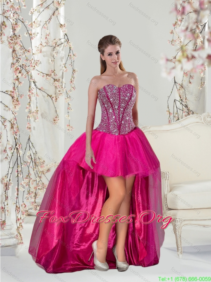2015 Luxurious Beading Hot Pink Bridesmaid Dresses