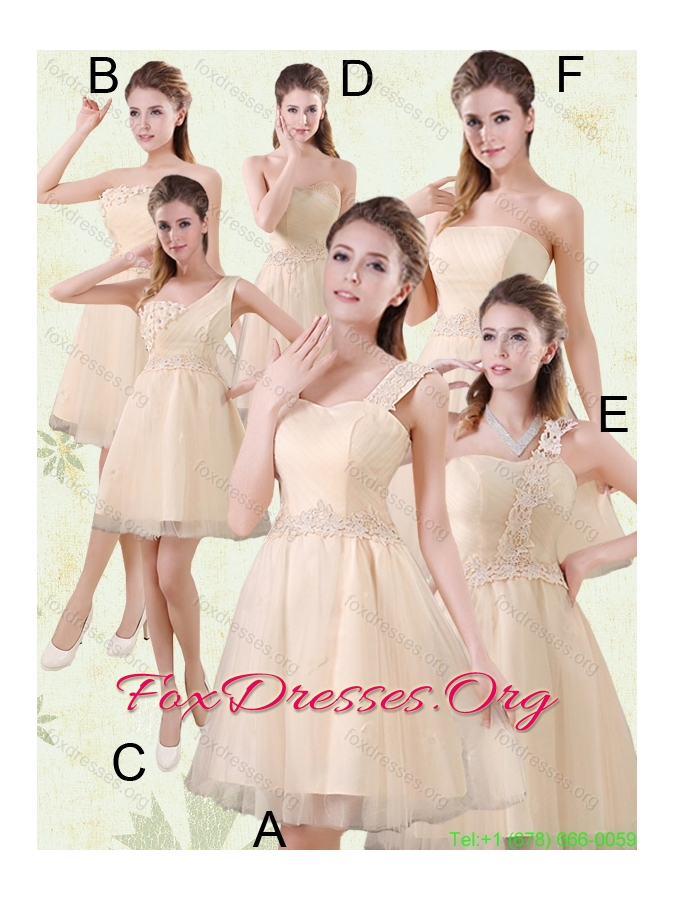 Sweetheart A Line Appliques Champagne Bridesmaid Dress for 2015