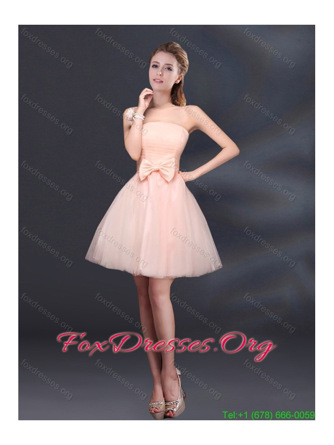 2015 Lace Up Organza Bridesmaid Dress with A Line