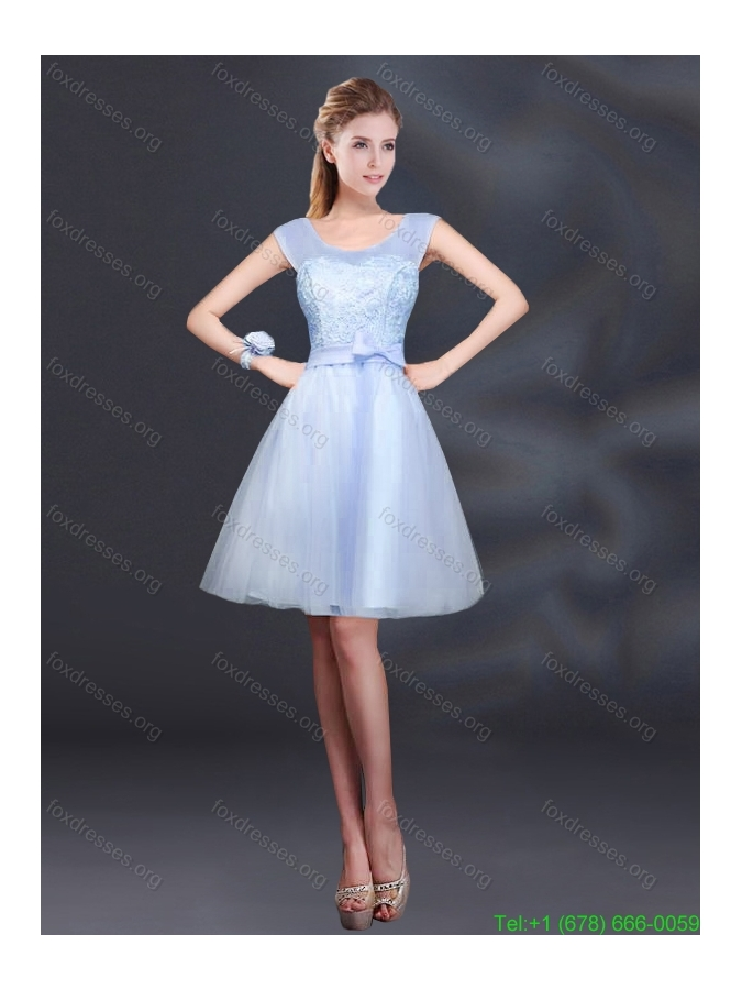 2015 Sturning A Line Belt Bridesmaid Dress with Scoop