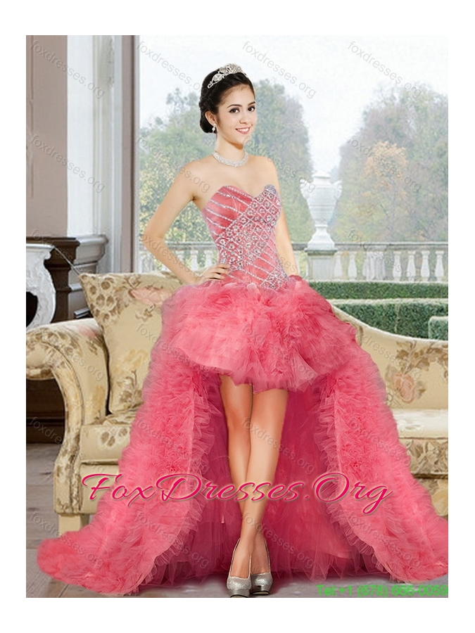 Classical 2015 Appliques and Ruffles Sweet 16 Dress in Watermelon