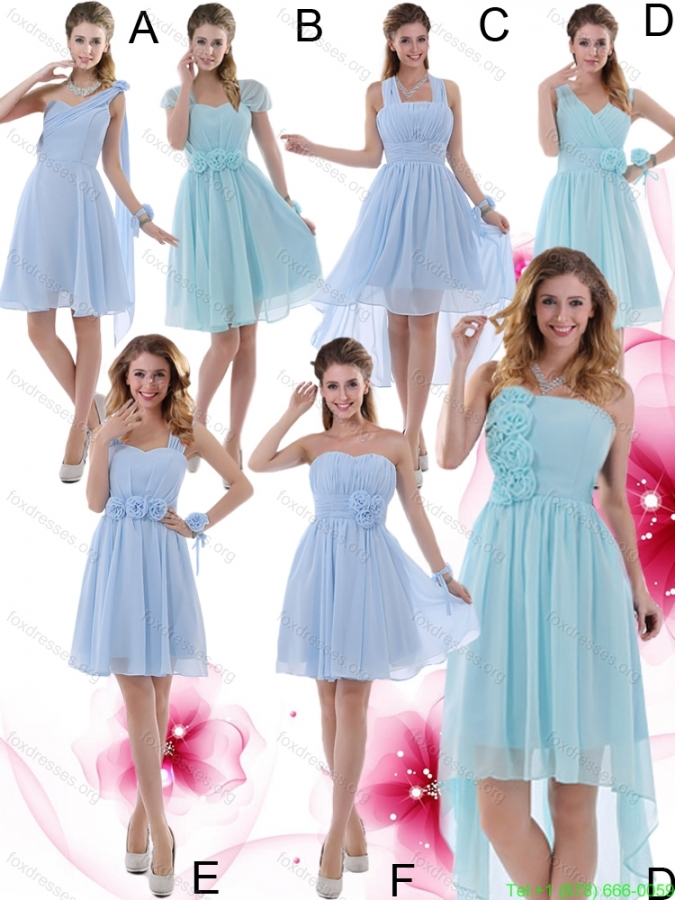 Cheap Ruching and Hand Made Flowers Straps 2015 Chiffon Prom Dress