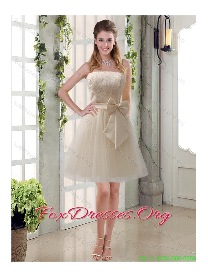 Group Buying  Princess Mini Length Lace Bridesmaid Dress with Bowknot