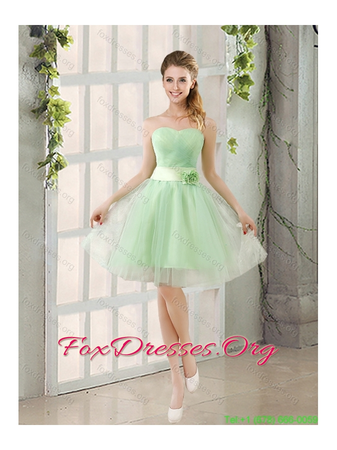 Ruching Organza A Line Mini Length Bridesmaid Dress with Lace Up