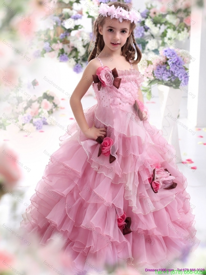 2015 Baby Pink Pretty Girls Party Dressess with Hand Made Flowers and Ruffles