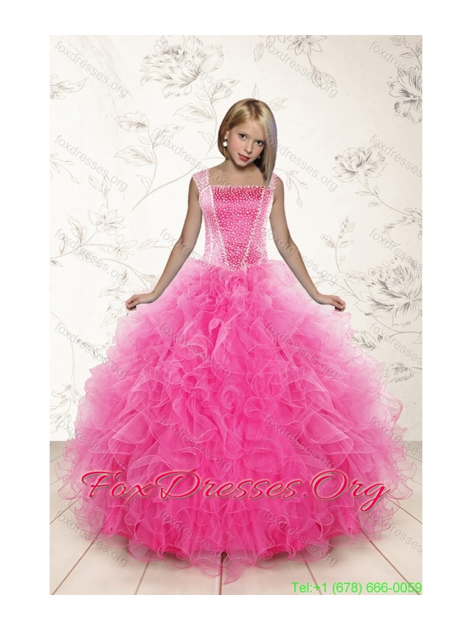 2015 Beading and Ruffles Pretty Girls Party Dresses in Pink