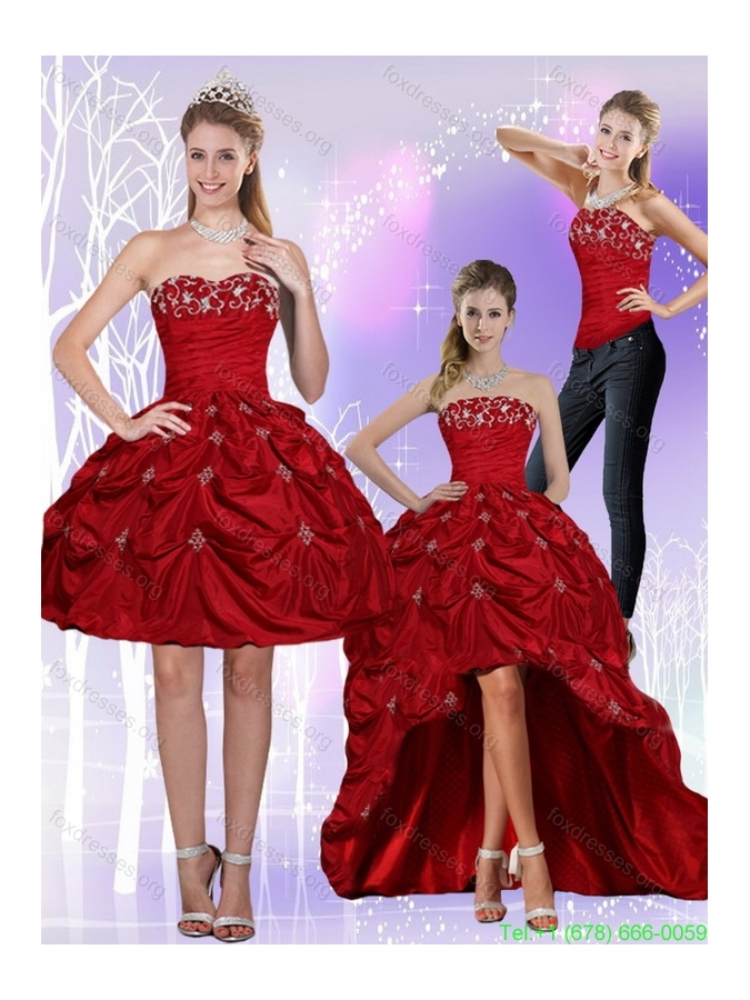 2015 Detachable Strapless Wine Red Prom Dresses with Embroidery