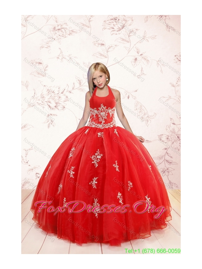 2015 Fashionable Appliques Red Pretty Girls Party Dresses