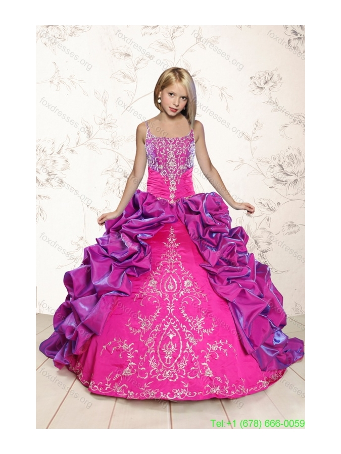 Coral Red and Purple Pretty Girls Party Dresses with Appliques and Pick Ups for 2015 Spring