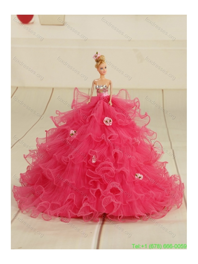 Pink Pretty Girls Party Dresses with Beading and Ruffles
