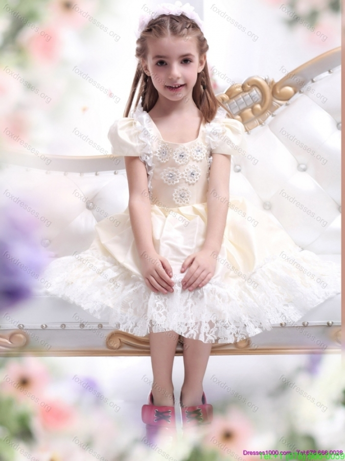 Pretty Champagne Girls Party Dresses with Hand Made Flower and Lace