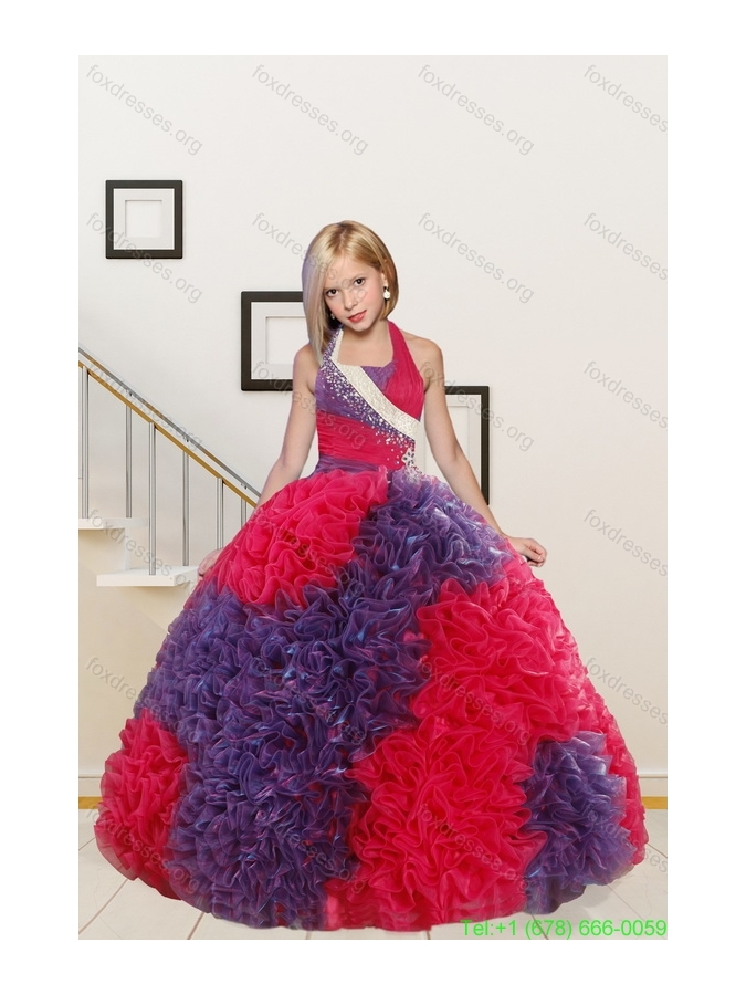 Pretty Straps Ball Gown Multi Color Girls Party Dresses with Beading and Ruffles
