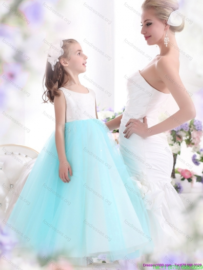 Pretty White and Baby Blue Scoop Girls Party Dresses for 2015
