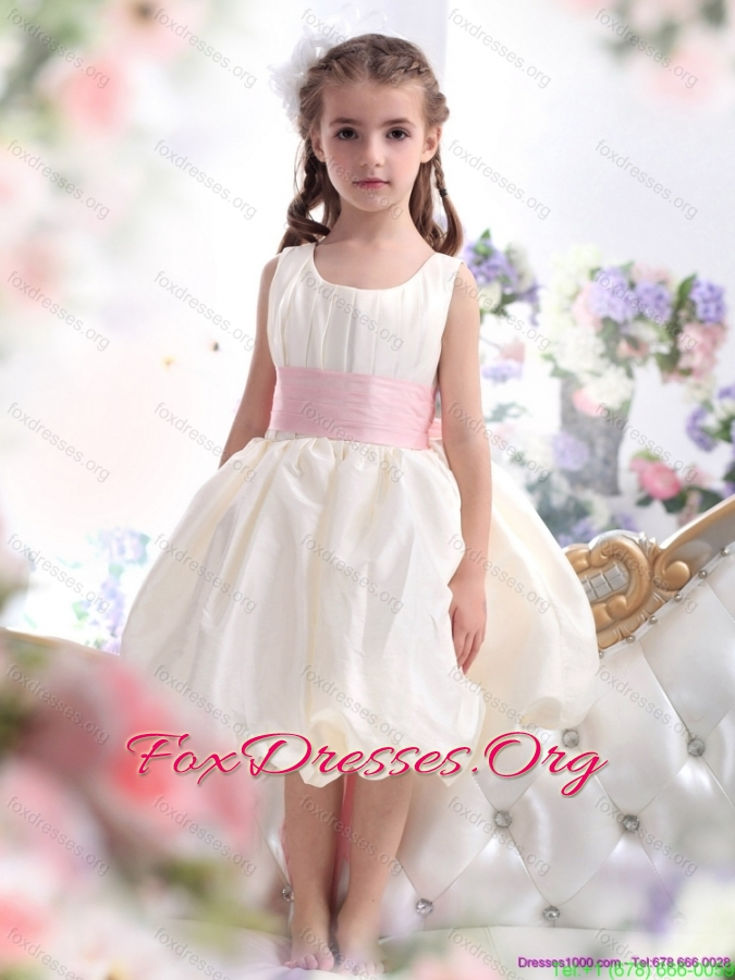 Pretty White Scoop 2015 Girls Party Dresses with Light Pink Sash